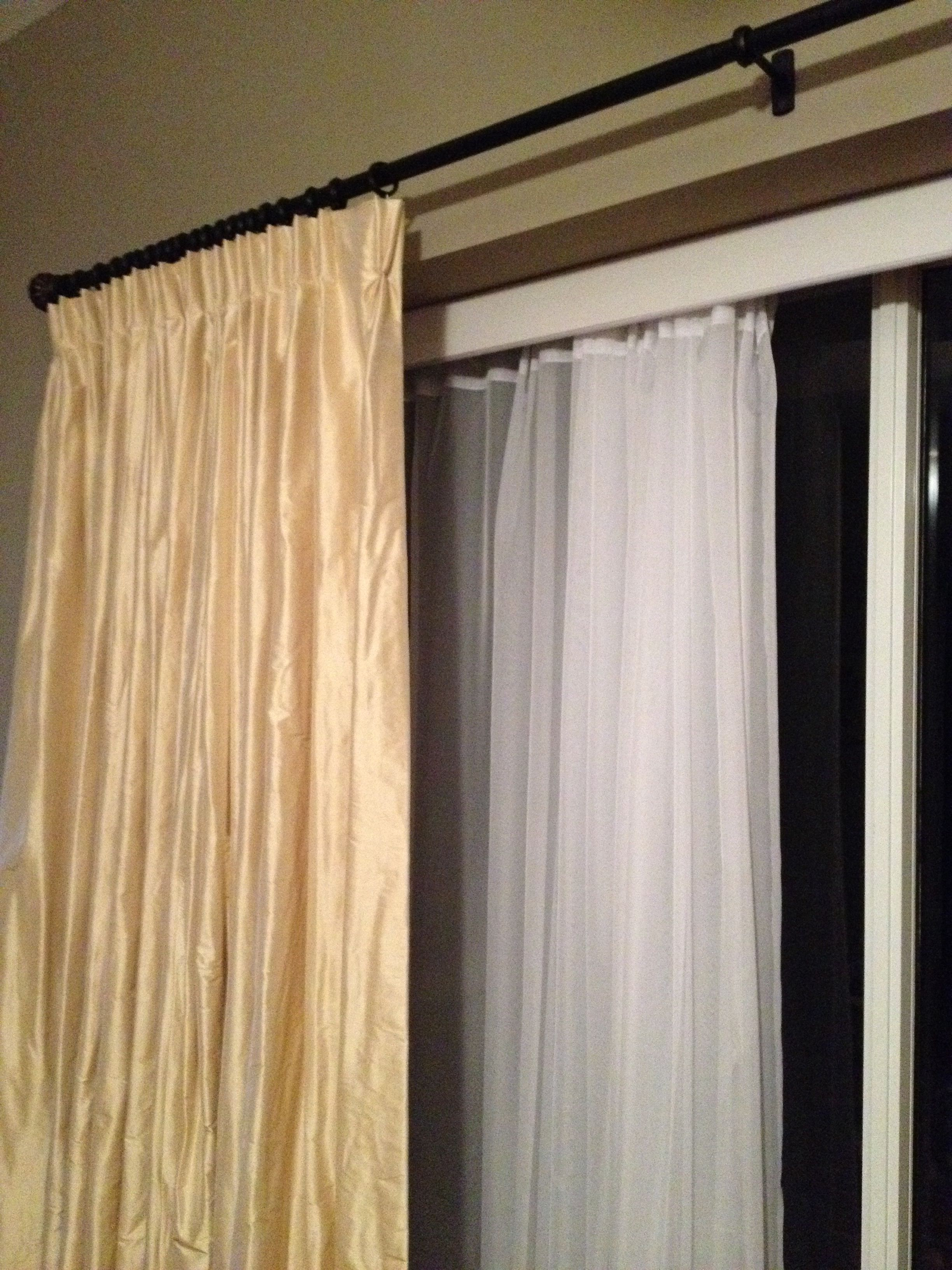Sheers Hung On Vertical Blind Track Remove Slats First By Making Holes Along Top Hem Easy And Inexpensive Update For Old Blinds