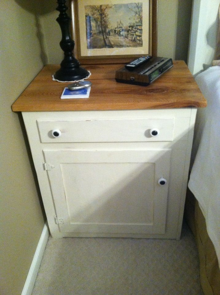 Old Kitchen Cabinet Repurposed Into Nightstand Ascp White Dead Head Cypress Top Home Decor Ideas In 2018 Pinterest Cabinets
