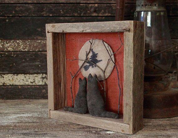 primitive halloween cats gazing moon assemblage shadow box diorama wall hanging halloween folk