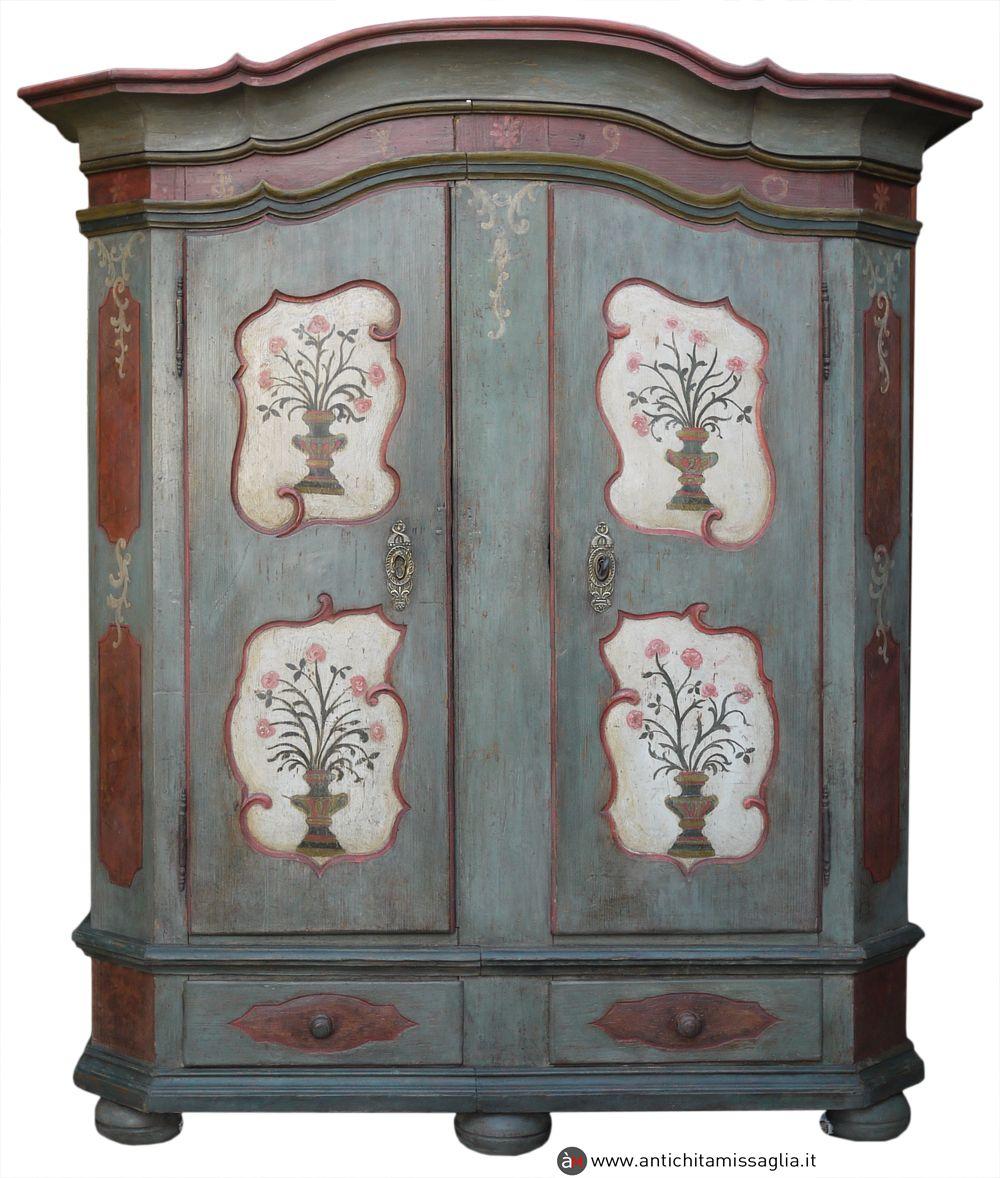 Armadio Tirolese Antico Originale Con Immagini Dipinti