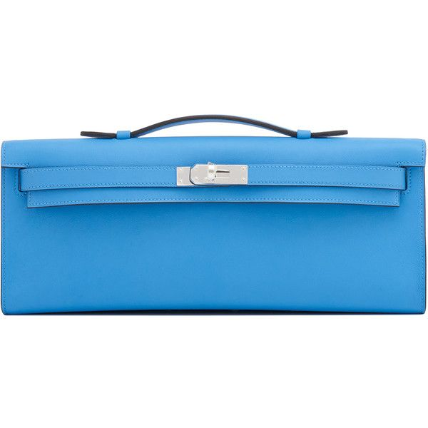 Pre-Owned Hermes Blue Paradise Kelly Cut Pochette Clutch Bag Swift... (€9.350) ❤ liked on Polyvore featuring bags, handbags, blue paradise, blue handbags, blue purse, colorful handbags, floral print handbags and summer purses