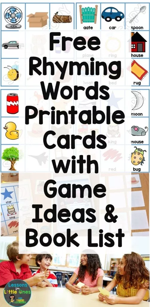 Rhyming Words Games, Books, Activities, & Free Rhyming Word Picture Cards - Lessons for Little Ones by Tina O'Block