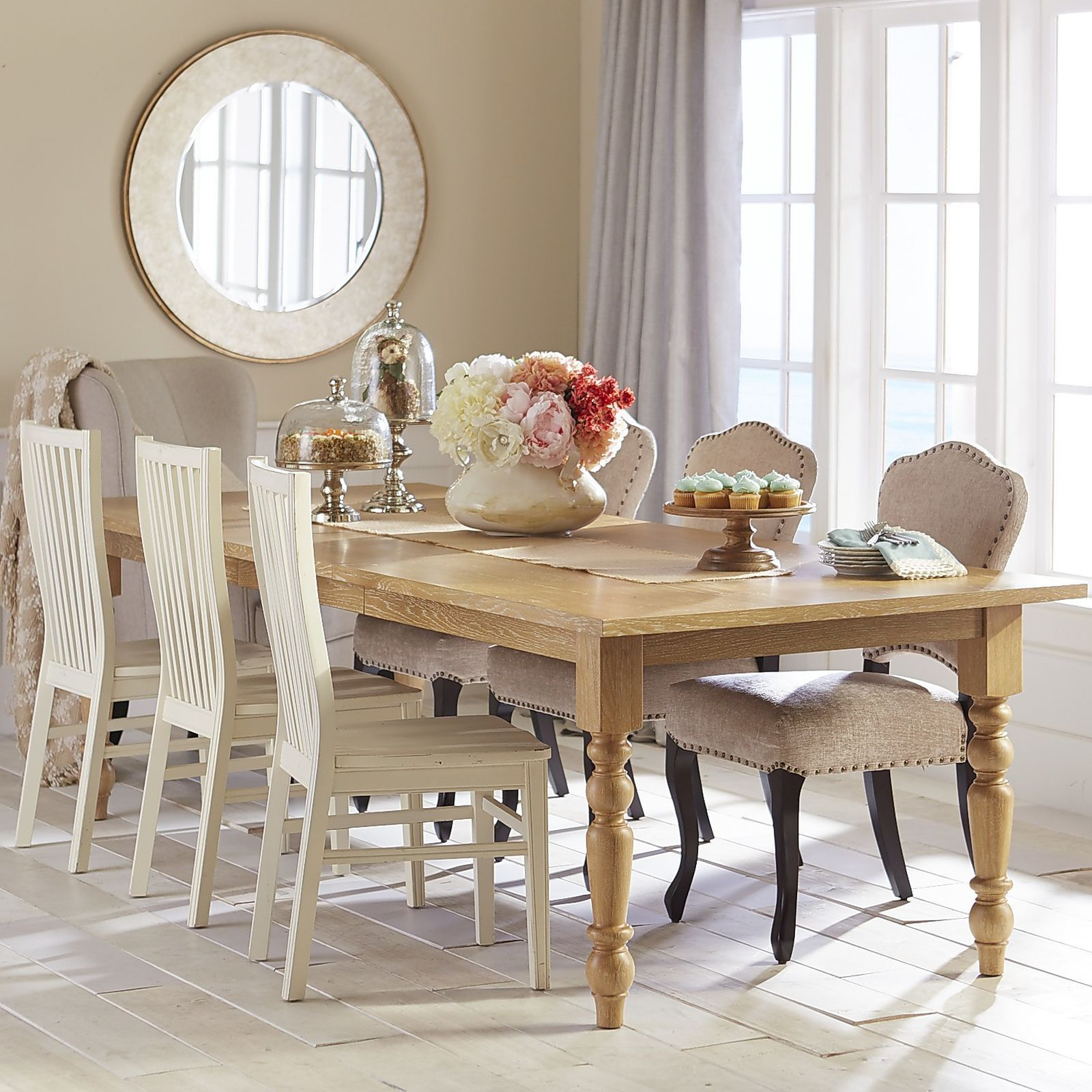 Torrance Extension Natural Whitewash Turned Leg Dining Table - Torrance dining table