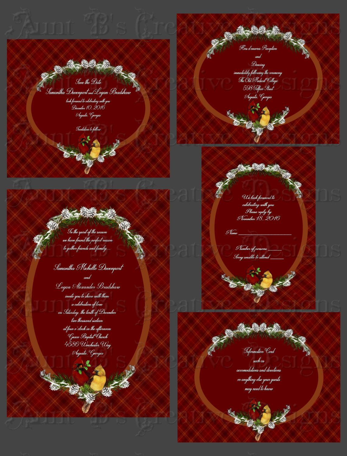 Cardinal Plaid Wedding Invitation, Cardinal Wedding Invitation ...