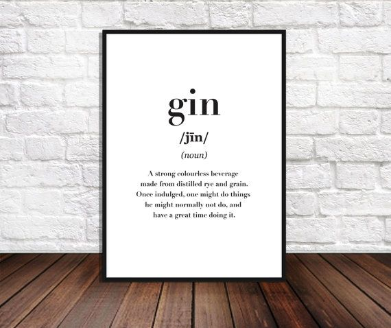 Gin Dictionary Print Printable Funny Quote Cafe Decor Gin