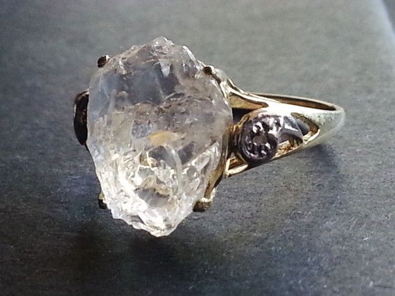 10k Solid Gold Raw Diamond Ring // Engagement Ring