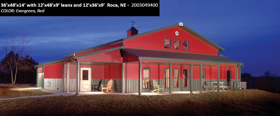 36' x 48' x 14' with 12' x 48' x 9' leans and 12' x 36' x 9' Cleary