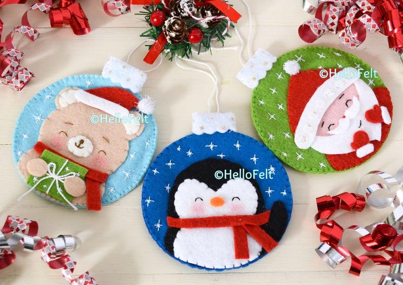 Christmas Ornaments PDF PATTERN. Set of 5 Felt Christmas Ornaments pattern. Tree ornaments. HelloFelt.