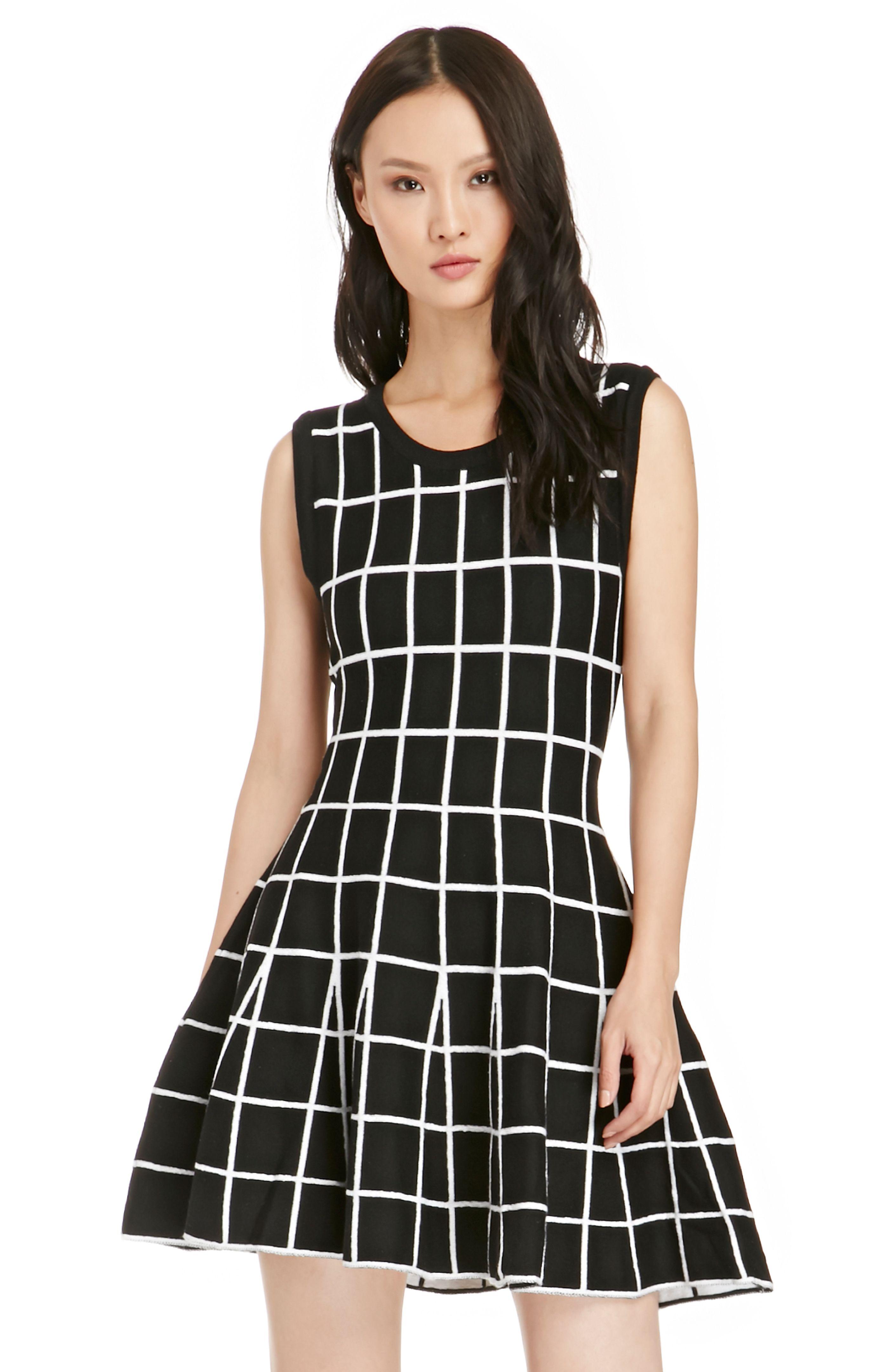 Grid Knitted Skater Dress in Black