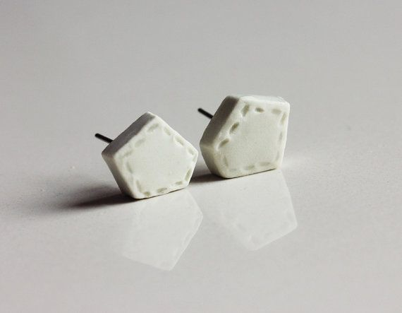 Ceramic handmade white geometric studs earrings