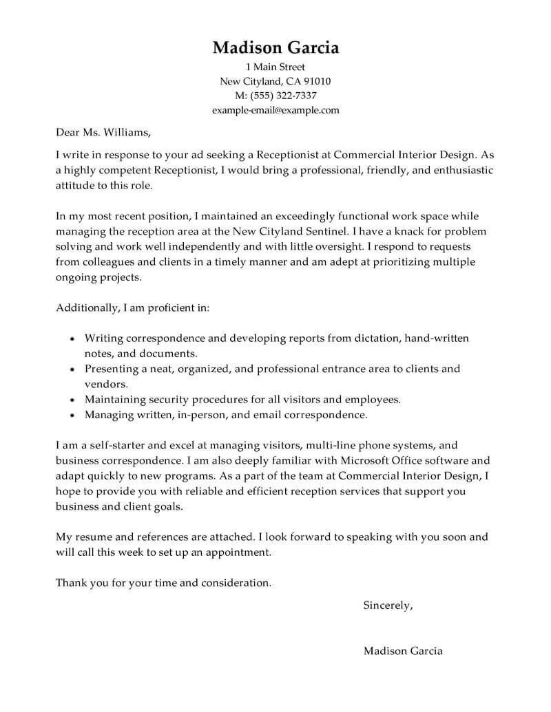 Cover Letter Template Receptionist Cover Letter Example Letter