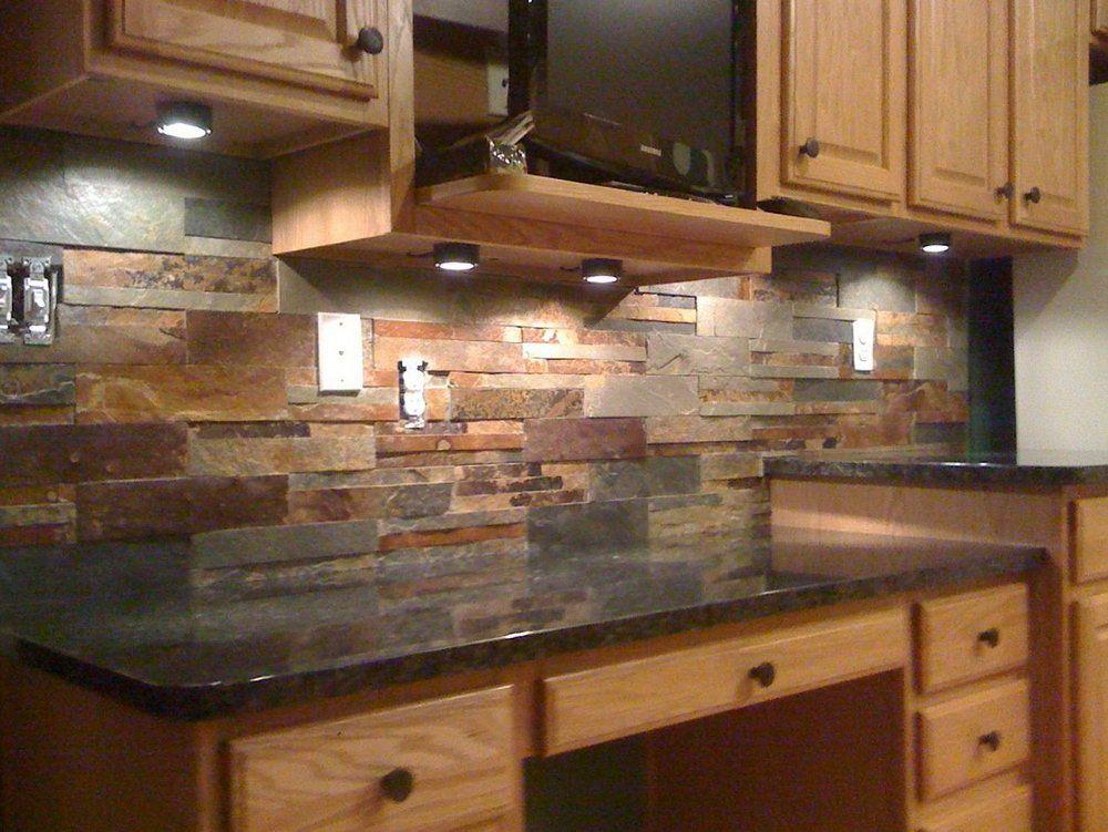 Natural Stone Tile Backsplash Home Design Ideas Kuchen Rustikal Kuchen Granitarbeitsplatten Granit Kuche