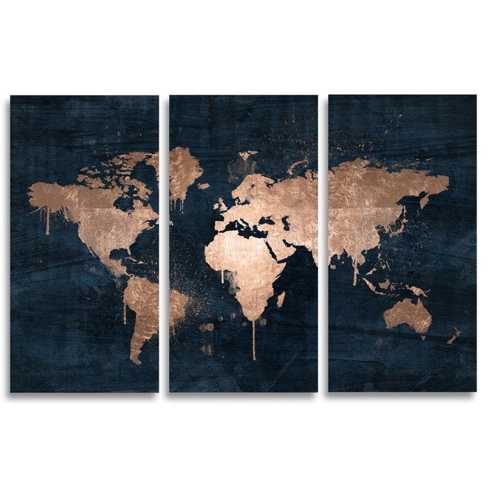 Mapamundi Copper Triptych Painting Print On Wrapped Canvas Map Wall Art World Map Art World Map Wall Art