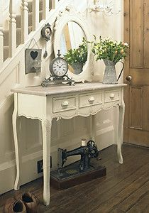 Console Dressing Table Shabby Country Chic Vintage French 3 Drawer