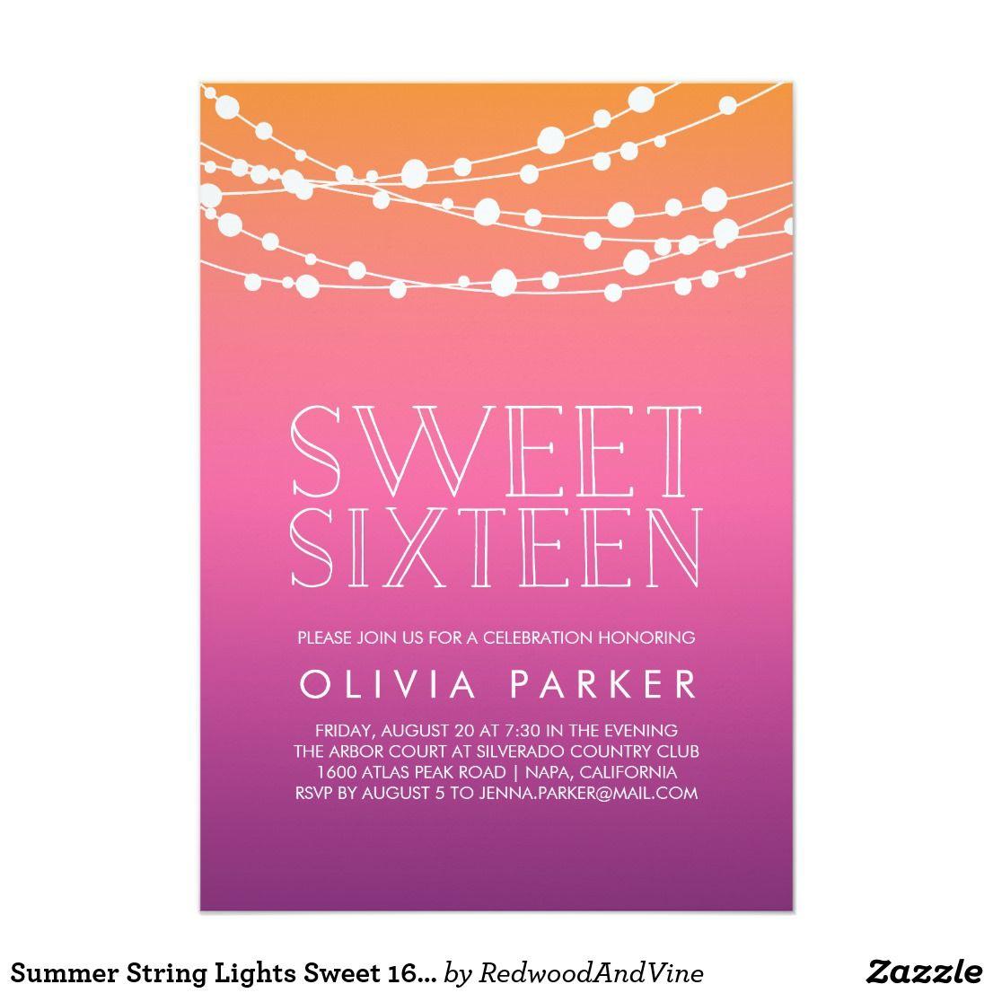 Summer String Lights Sweet 16 Party Invitation | { Happy Birthday ...