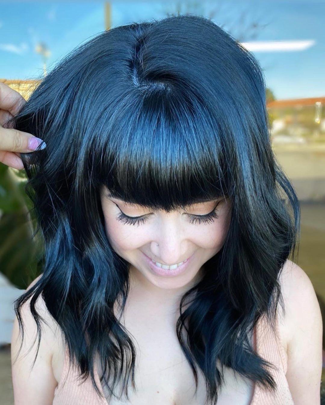 "Kenra Professional on Instagram: ""Blue Black anyone? SWIPE ⬅️to watch the full tutorial! ⠀ @mirellamanelli used @kenraprofessional Monochrome 1BL+ ⠀ ⠀ Little tip: This will…"""