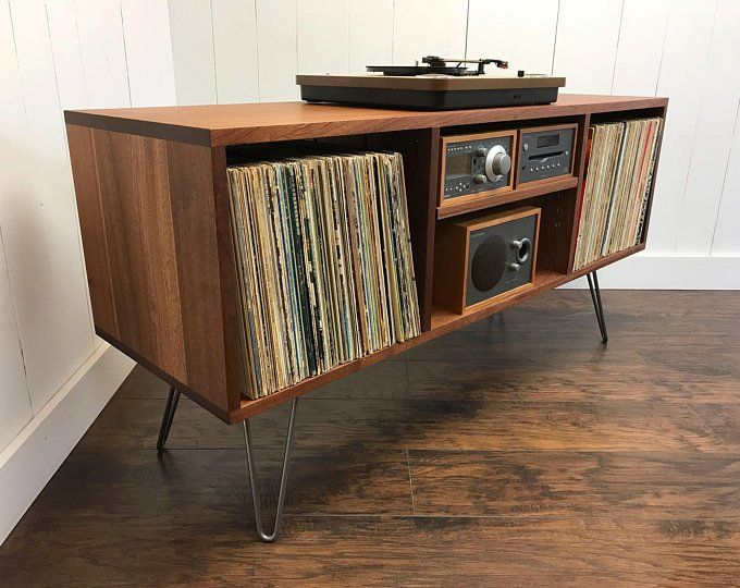 Photo of Solid mahogany turntable cabinet with album storage. Mid cen…