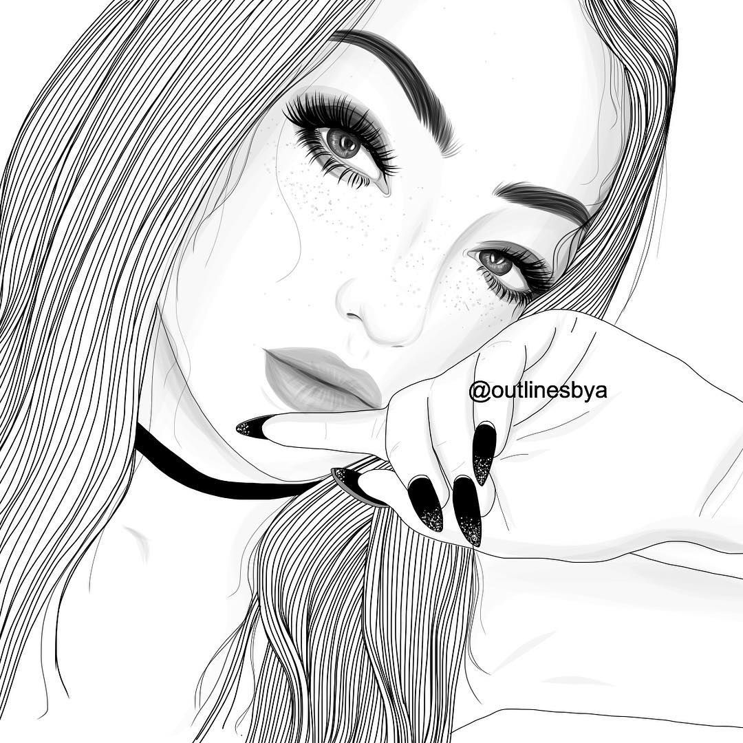 Female Face Drawing Simple