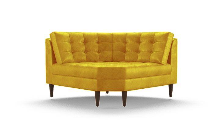 Eliot Leather Round Corner Chair Corner Chair Mid Century
