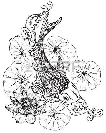 tatouage animaux main vecteur illustration tir e de poissons koi carpe japonaise avec des. Black Bedroom Furniture Sets. Home Design Ideas