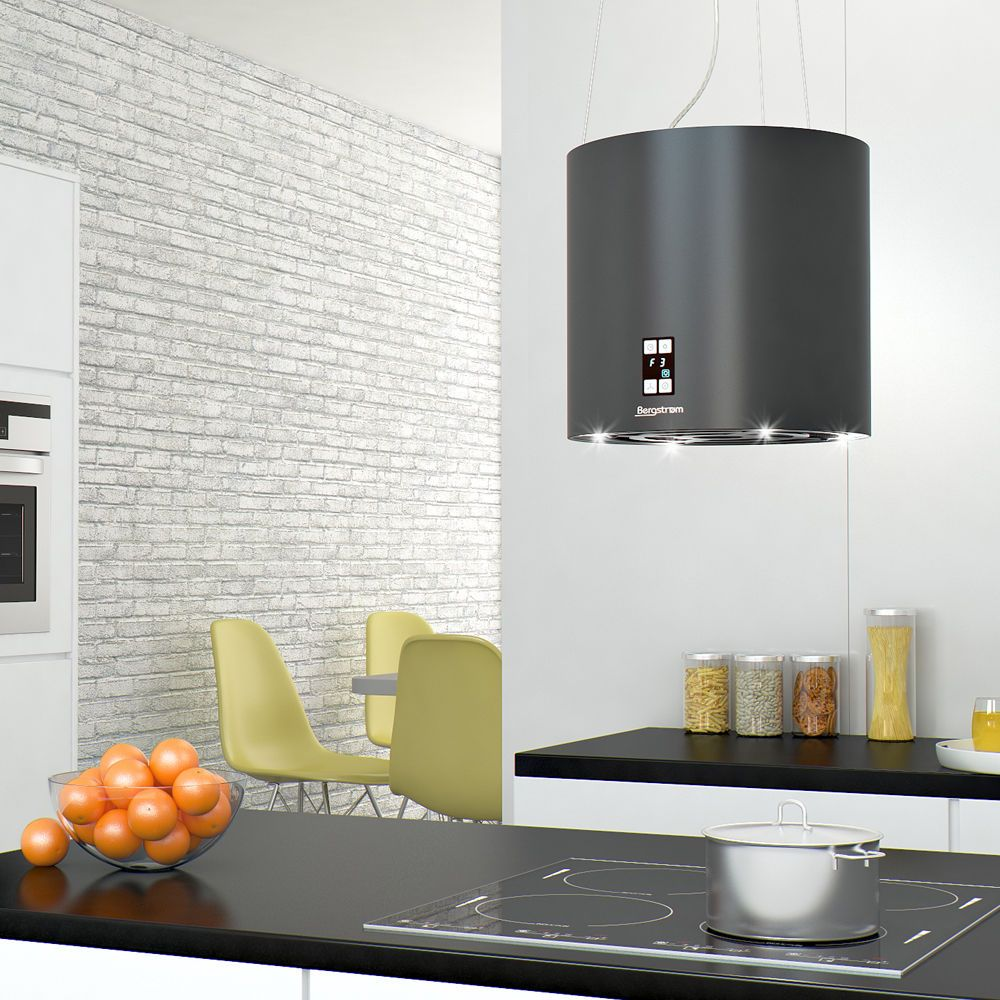 bergstroem inselhaube dunstabzugshaube edelstahl deckenhaube matt schwarz in haushaltsger te. Black Bedroom Furniture Sets. Home Design Ideas