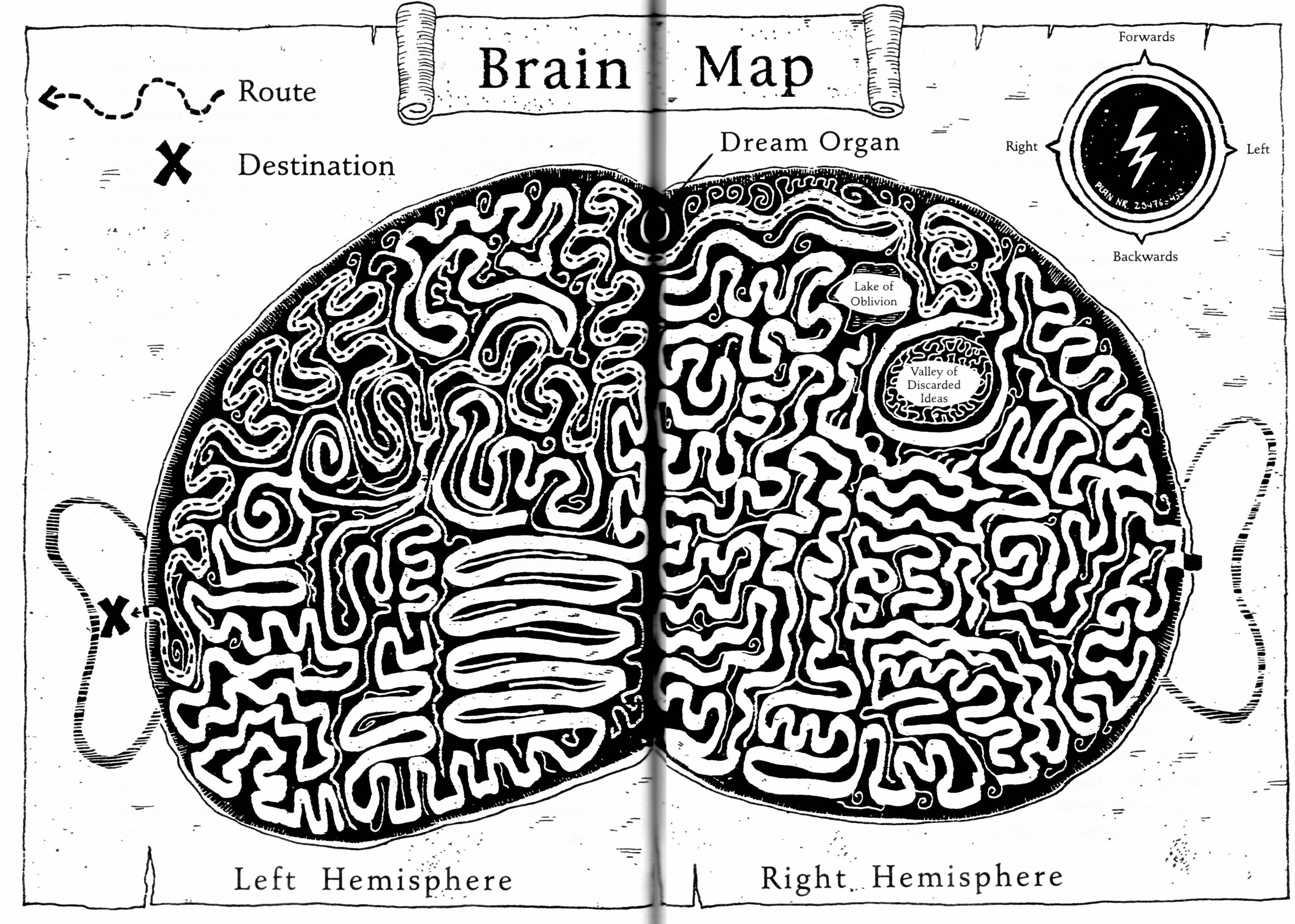 Bollogg Brain Map from the wonderful book The 13 Lives of Captain