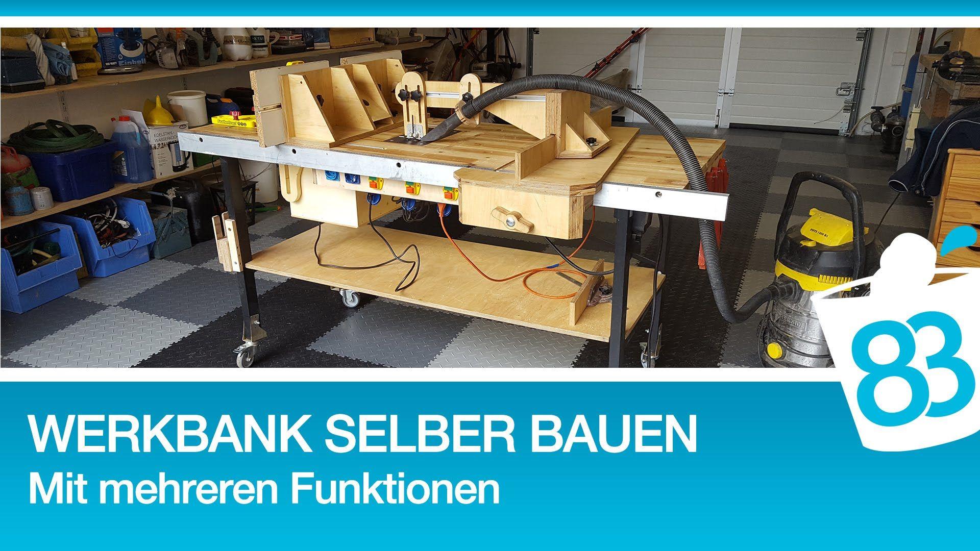 Werkbank selber bauen Eigenbau Tischkreissäge Stichsä isch Oberfräse in Werkbank einbauen