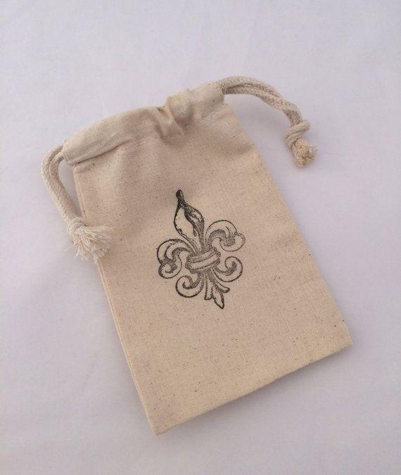Fleur De Lis Treat Bags Drawstring Muslin Favor Paris Gift