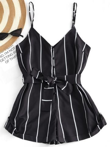 5be7a4349a45 Striped Belted Short Jumpsuits RI in 2019