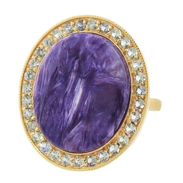 Andrea Fohrman Oval Charoite and Grey Ring ($4,600) ❤ liked on Polyvore featuring jewelry, rings, grey ring, oval ring, sparkle jewelry, marble ring and hand crafted jewelry