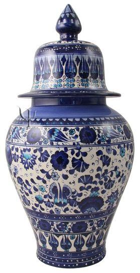 Iznik Design Ceramic Jar - Lale and Karanfil