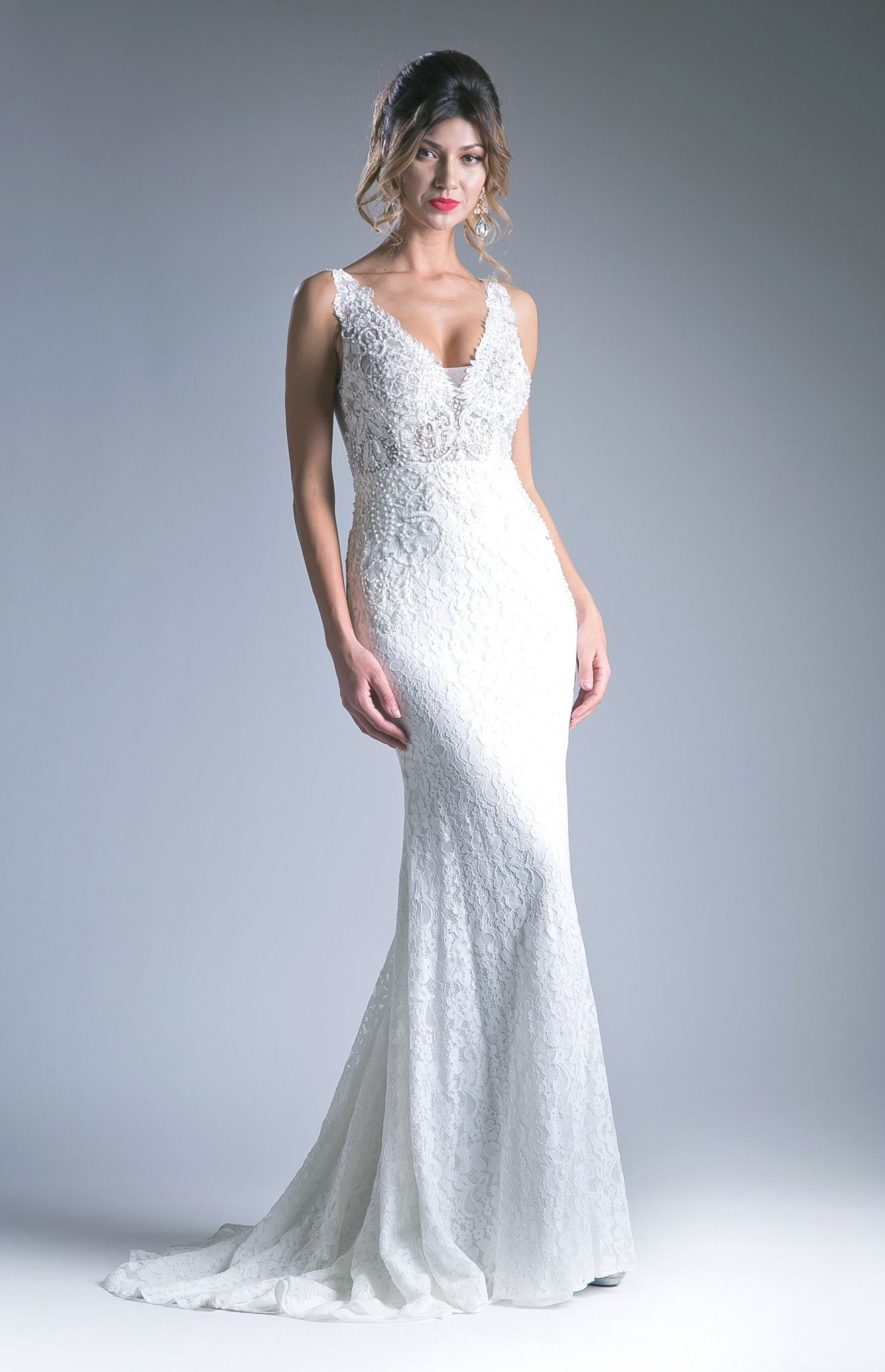 V-Neck Lace Dress with Sheer Back by Cinderella Divine KC1757