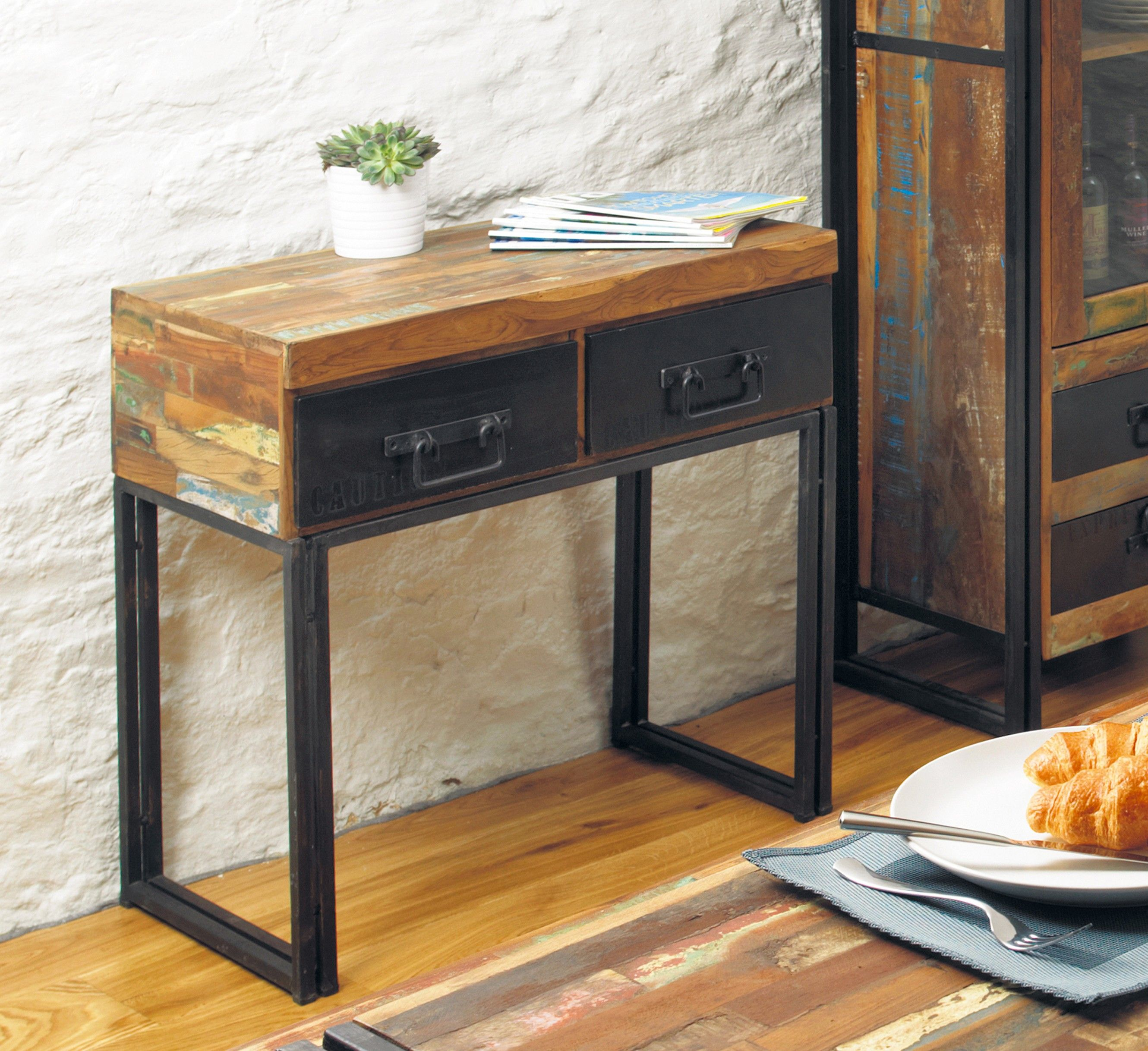 Urban Chic Salvage Furniture Range Industrial Vintage Console Table Kontenta
