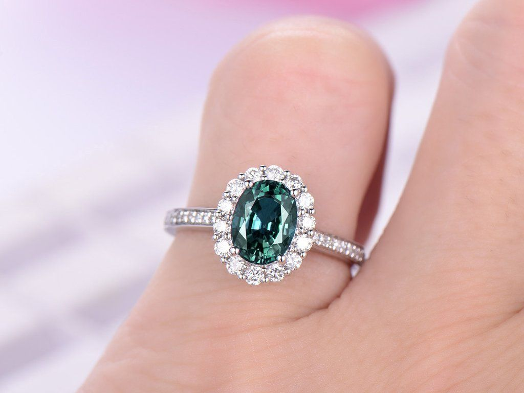 Oval Alexandrite Engagement Ring Pave Diamond 18K White Gold 6x8mm ...