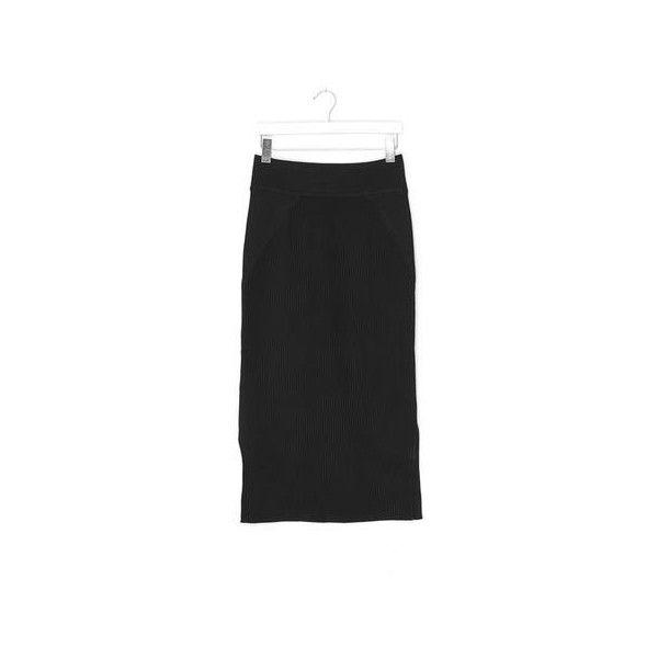 Knit Side Slits Skirt ($147) ❤ liked on Polyvore featuring skirts, black, knit skirt and side slit skirt