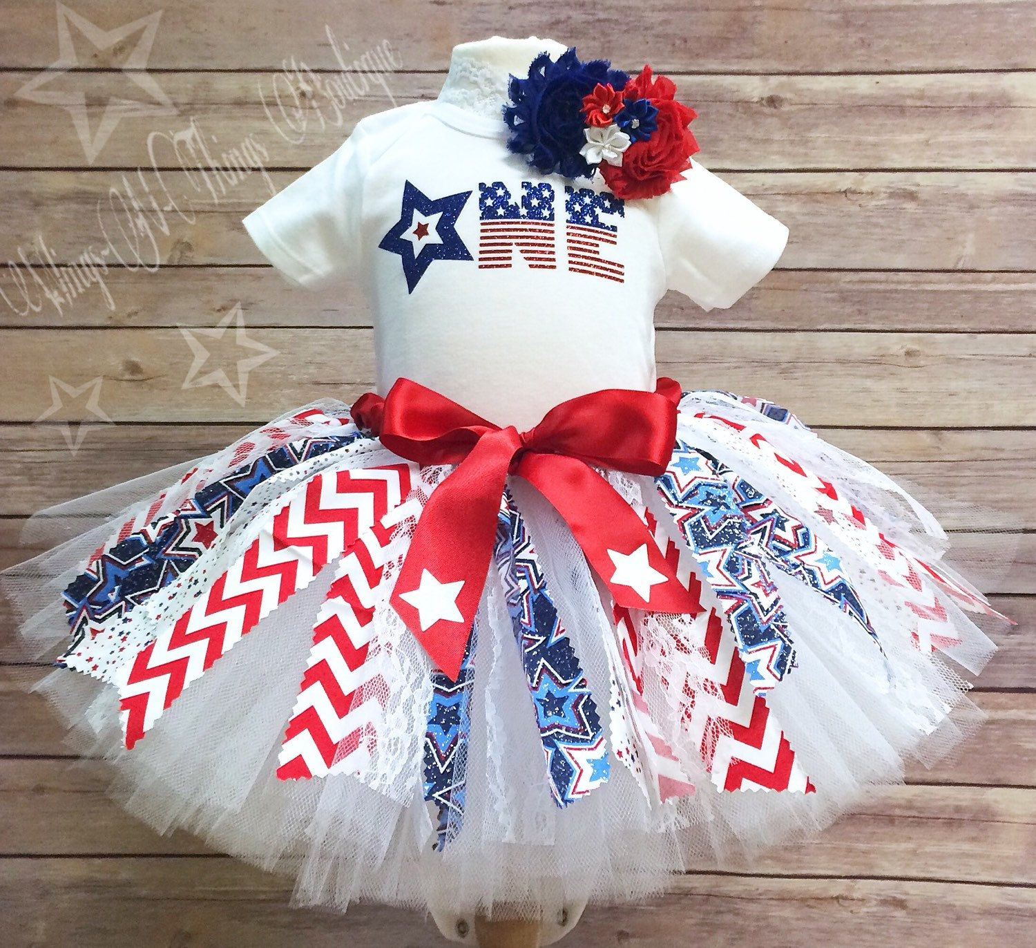 4th of July baby girl 1st Birthday outfit One Red white and Blue Patriotic Birthday girl first birthday Fabric Tutu July 4th skirt for baby