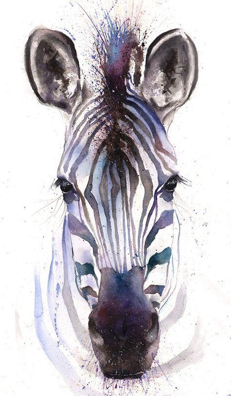 Aquarelle Zebre Art Zebre Peinture Zebra Art Mural Zebre