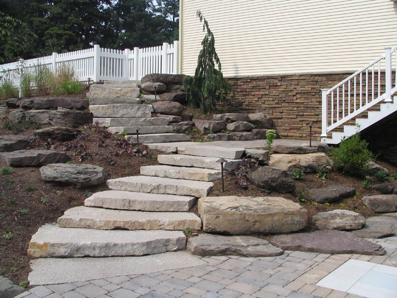 Landscape steps on a hill silver creek 39 random stone for Landscaping a hill with rocks