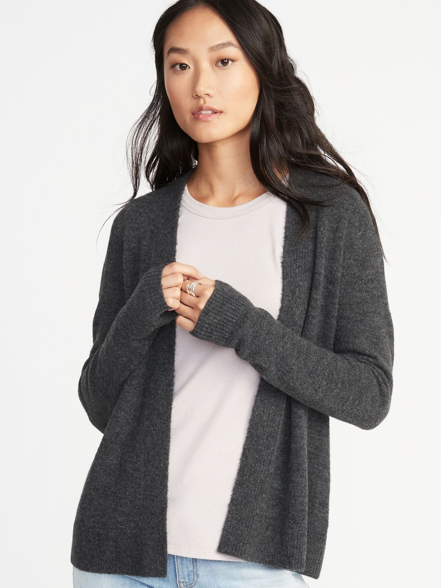 Plush,Knit Open,Front Sweater for Women