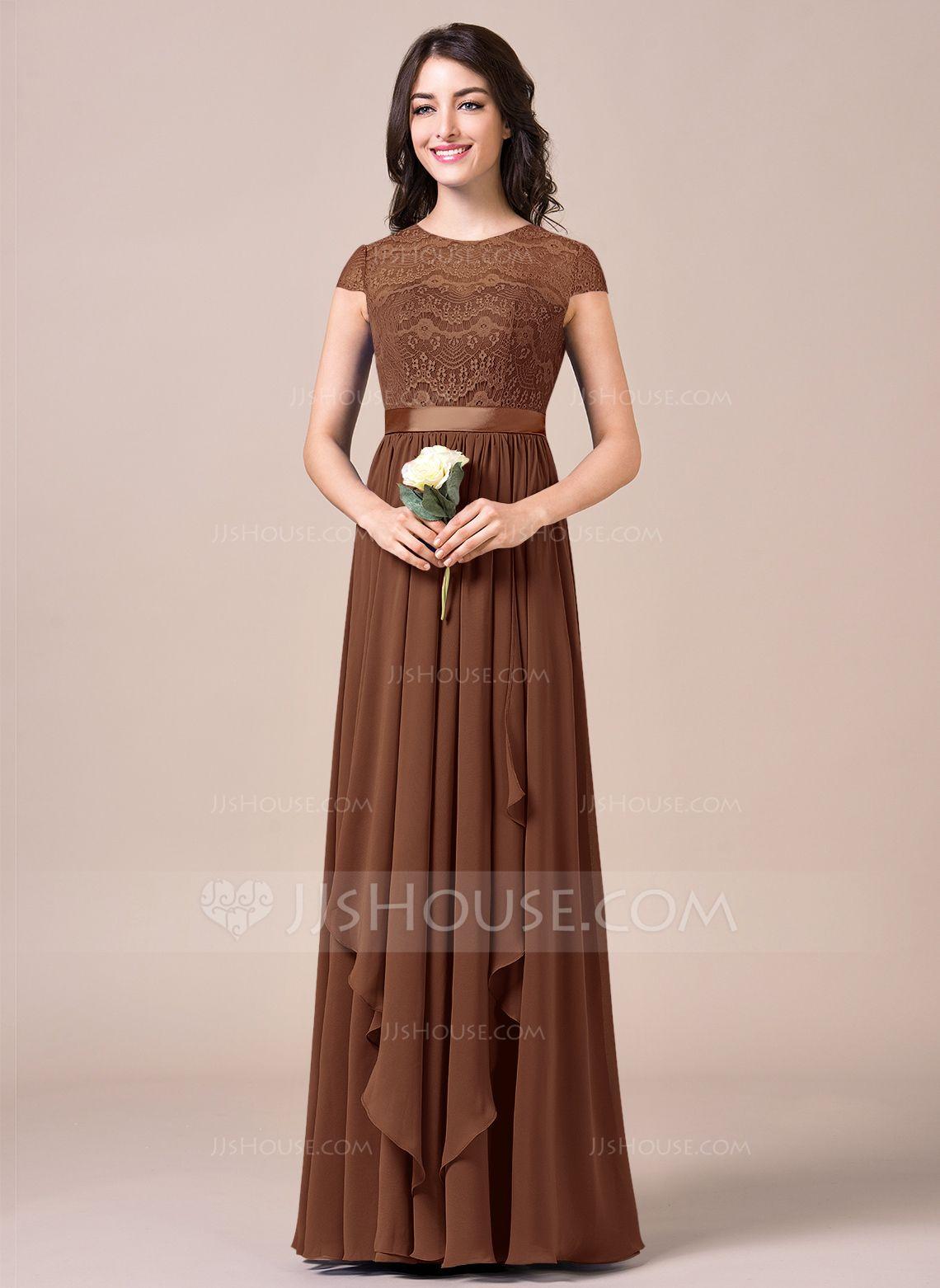 3b40936fd A-Line/Princess Scoop Neck Floor-Length Chiffon Lace Bridesmaid Dress With  Bow(s) Cascading Ruffles (007057698) - JJsHouse
