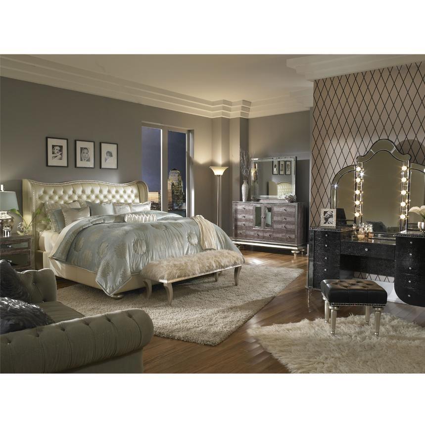 El Dorado Furniture Hollywood Swank Cream Pearl King Platform Bed Luxurious Bedrooms Bedroom Vanity Set Bedroom Set