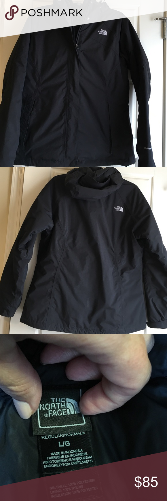 Women's The North Face Dual-Climate HyVent coat Women's The North Face Dual-Climate HyVent coat. Size Large. It's like 2 coats in 1. You can use the puffer-like jacket on the inside of the shell jacket or use each separately. Very warm together. Excellent used condition. Smoke-free home The North Face Jackets & Coats