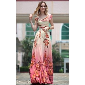 unique flower prints formal dress for women wear to a wedding