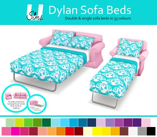 Dylan sofa beds and beddings at unobservantsims sims 4 for Sofa bed sims 4