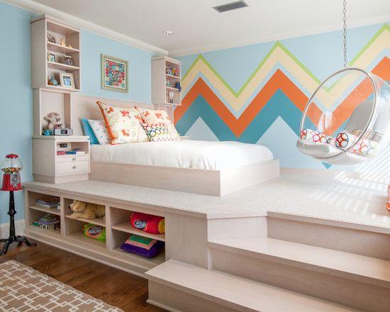 Im Kinderzimmer | Holzbett Im Kinderzimmer Regalsystem Eingebaut Stauraum