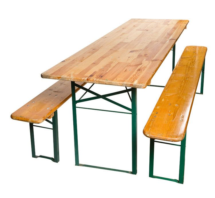 Antique German Wood Metal Beer Hall Table And Benches 1900s.