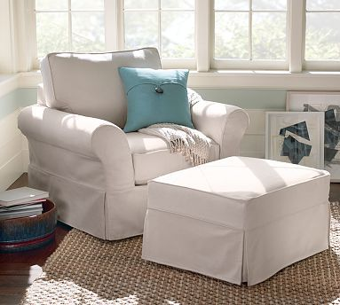 Pb Comfort Slipcovered Armchair And Ottoman In White Washed Linen Cotton Potterybarn Furniture Slipcovers Slipcovers For Chairs Slip Covers Couch