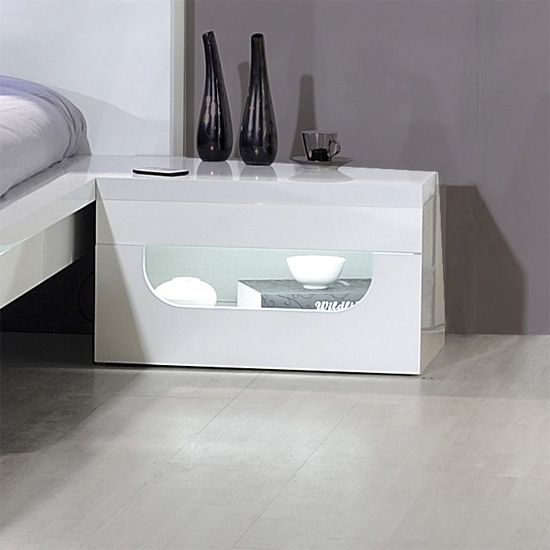 Pulse High Gloss Bedside Table In White With Led Lighting 12 Cd 1101 Features Made