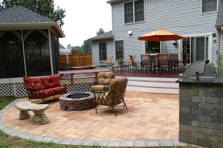 Small Deck Plus Patio | Landscape Ideas | Pinterest | Stamped Concrete,  Concrete Patios And Deck Design