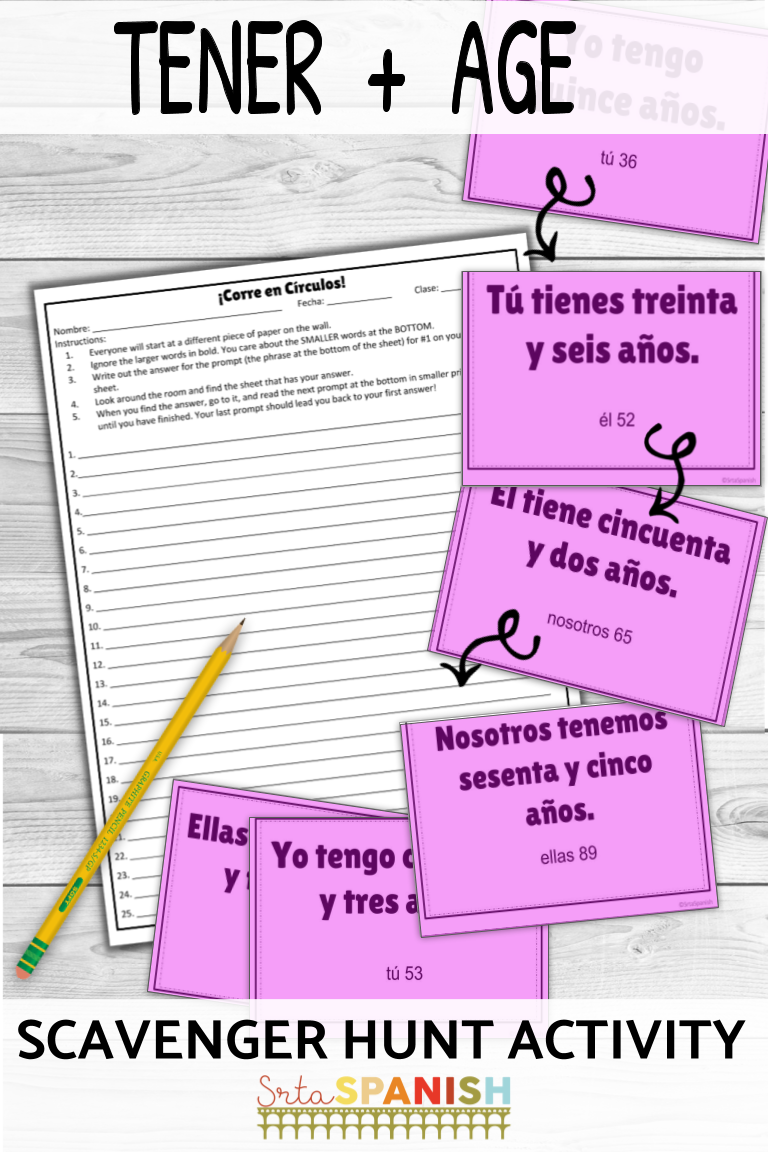Need Something Fun For Practicing The Verb Tener And Age Check Out This Scavenger Hunt Game Your Sp High School Spanish Spanish Students Spanish Lesson Plans [ 1152 x 768 Pixel ]